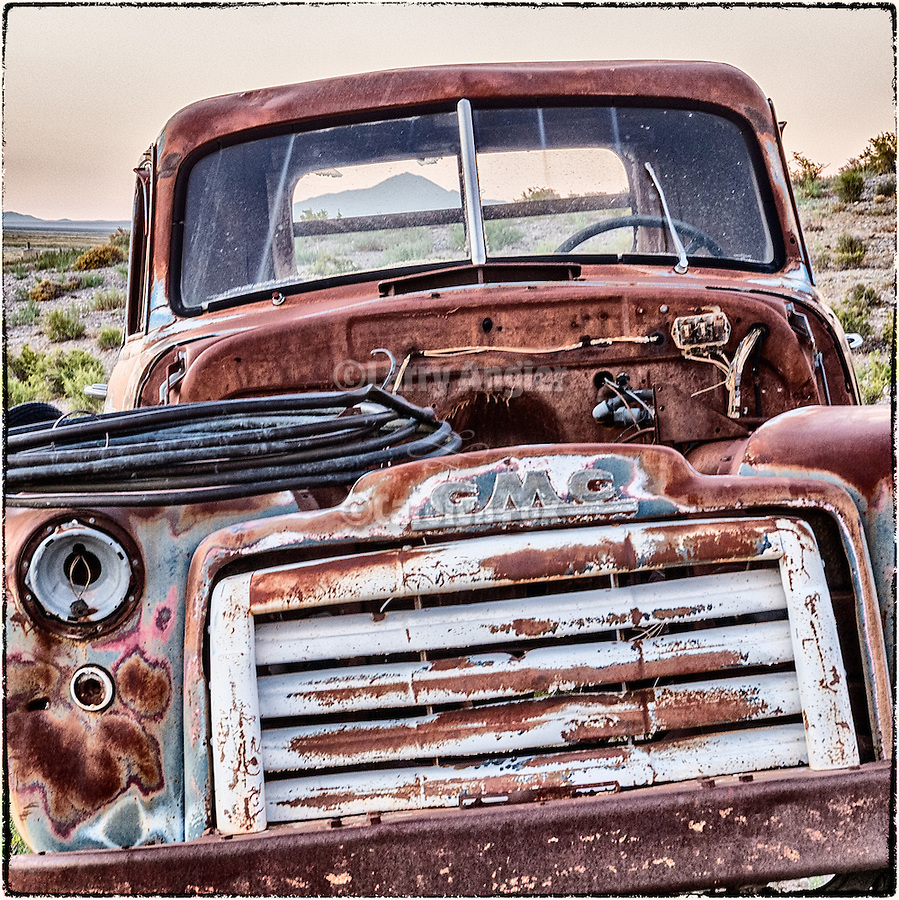 Rusted and abandoned GMC truck, Railroad Valley, Nevada