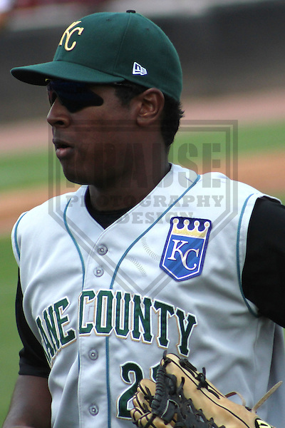 APPLETON - July 2012:  Julio Aparicio (23) of the Kane County Cougars, Class-A affiliate of the Kansas City Royals, during a game against the Wisconsin Timber Rattlers on July 9, 2012 at Time Warner Cable Field at Fox Cities Stadium in Appleton, Wisconsin. (Photo by Brad Krause).