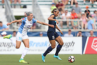 Cary, North Carolina  - Saturday April 29, 2017: Lynn Williams (9) and Alanna Kennedy (14) during a regular season National Women's Soccer League (NWSL) match between the North Carolina Courage and the Orlando Pride at Sahlen's Stadium at WakeMed Soccer Park.