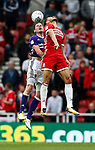 Richard Stearman of Sheffield Utd and Rudy Gestede of Middlesbrough during the Championship match at the Riverside Stadium, Middlesbrough. Picture date: August 12th 2017. Picture credit should read: Simon Bellis/Sportimage