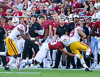 Stanford, Ca. - The Stanford Cardinal Football team vs the USC Trojans in Stanford Stadium. The final score Stanford 17, USC 3.