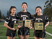 The Occidental College women's soccer team's three award winners, from left; Michaela Tsuha '16, 1st Team All-SCIAC, Taryn Ng '15, 1st Team All-SCIAC & Brine Award of Distinction and Julie Khil '17, SCIAC Women's Soccer Athlete of the Year. Dec. 11, 2014. (Photo by Marc Campos, Occidental College Photographer)