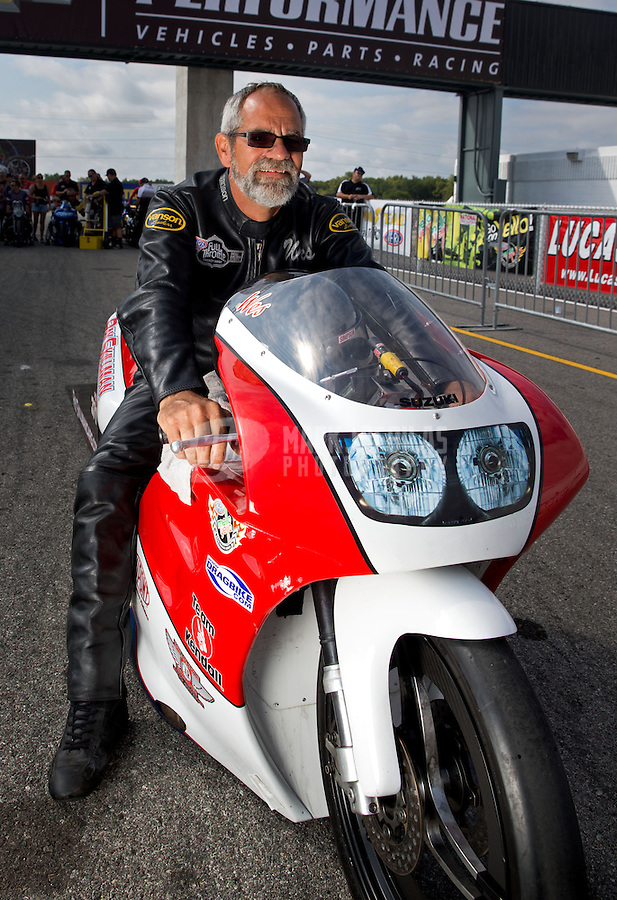 Sept. 1, 2013; Clermont, IN, USA: NHRA pro stock motorcycle rider Wesley Wells during qualifying for the US Nationals at Lucas Oil Raceway. Mandatory Credit: Mark J. Rebilas-