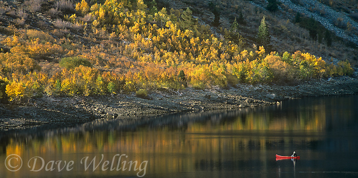 920000018 panoramic view of a  fisherman in a red canoe on lundy lake with fall colored trees in the background in the eastern sierras in mono county california