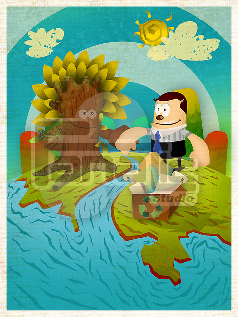 Illustrative representation conveying message Save Trees by using recycled paper