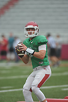 NWA Democrat-Gazette/MICHAEL WOODS &bull; @NWAMICHAELW<br /> University of Arkansas quarterback Austin Allen runs drills during practice Saturday August 22, 2015 at Razorback Stadium in Fayetteville.