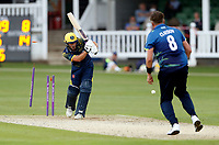 Mitch Claydon of Kent bowls Slater during the Royal London One Day Cup game between Kent and Glamorgan at the St Lawrence Ground, Canterbury, on May 25, 2018