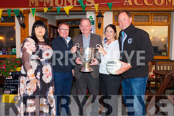 At the North Kerry Football Championships draw for 2019 at McMunns Bar and Restaurant Ballybunion were L-r Mairead O'Sullivan Secretary, Greg Ryan McMunns Ballybunion Spronsor, Jer D. O'Connor President, Una O'Connor McMunns Ballybunion Spronsor, and Johnny Stack Chairman.