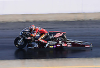 Sept. 14, 2012; Concord, NC, USA: NHRA pro stock motorcycle rider Matt Smith during qualifying for the O'Reilly Auto Parts Nationals at zMax Dragway. Mandatory Credit: Mark J. Rebilas-