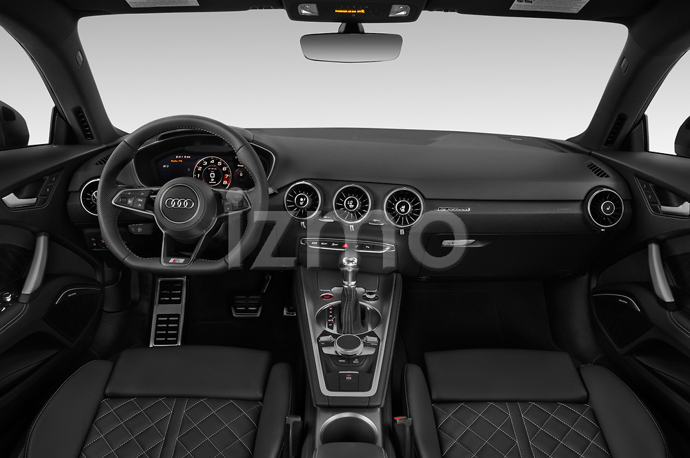 Stock photo of straight dashboard view of a 2019 Audi TTS-Coupe Base 3 Door Coupe