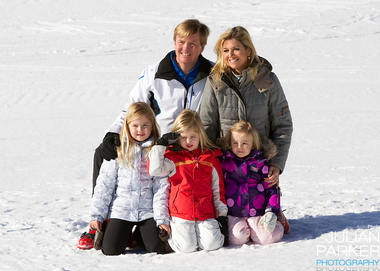 Crown Prince Willem Alexander, and Crown Princess Maxima of Holland with Daughters, Princess Alexia ( centre ), Princess Catharina Amalia (left ) and Princess Ariane ( right ) attend a Photocall with Members of The Dutch Royal Family during their Winter Ski Holiday in Lech Austria