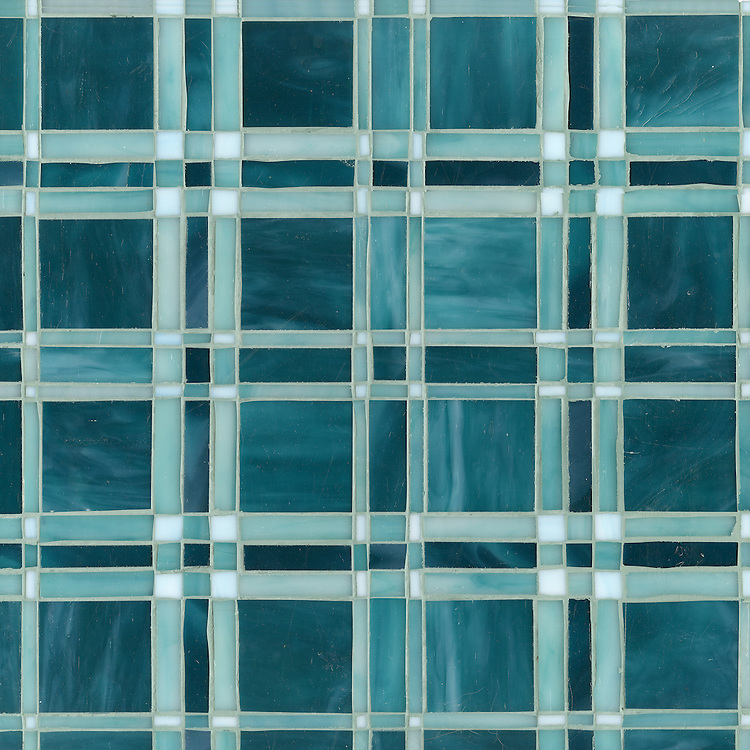 Rory, a jewel glass mosaic shown in Tanzanite, Feldspar and Amazonite.
