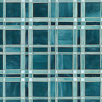 Rory, a jewel glass mosaic shown in Tanzanite, Feldspar and Amazonite, is part of the Plaids and Ginghams Collection by New Ravenna Mosaics.