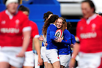 Cyrielle Banet (left) celebrates her try with Pauline Bourdon of France during the Women's Six Nations Championship Round 3 match between Wales and France at the Cardiff Arms Park in Cardiff, Wales, UK. Sunday 23 February 2020