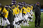 SALEM, VA - DECEMBER 16:  Head Coach Pete Fredenburg of the University of Mary Hardin-Baylor leads his team onto the field against the University of Wisconsin-Oshkosh during the Division III Men's Football Championship held at Salem Stadium on December 16, 2016 in Salem, Virginia.   Mary Hardin-Baylor defeated the University of Wisconsin-Oshkosh 10-7 for the national title. (Photo by Don Petersen/NCAA Photos via Getty Images)