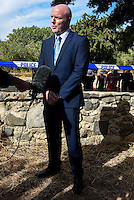 "Pictured: Detective Inspector Jon Cousins, from South Yorkshire Police addresses the media in Kos, Greece. Monday 26 September 2016<br /> Re: Police teams searching for missing toddler Ben Needham on the Greek island of Kos have said they are ""optimistic"" about new excavation work.<br /> Ben, from Sheffield, was 21 months old when he disappeared on 24 July 1991 during a family holiday.<br /> Digging has begun at a new site after a fresh line of inquiry suggested he could have been crushed by a digger.<br /> South Yorkshire Police (SYP) said it continued to keep an ""open mind"" about what happened to Ben."