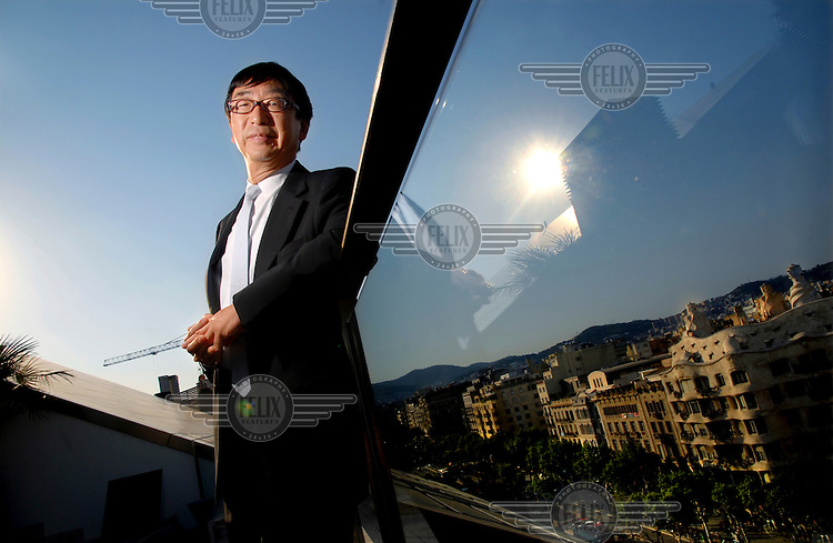 Japanese architect Toyo Ito pictured on Grace Boulevard in Barcelona, on the top of his Suites Avenue building.