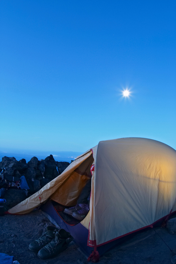 Tent in an alpine camp below full moon, Mount Adams, Yakima County, Cascade  Mountains, Washington, USA