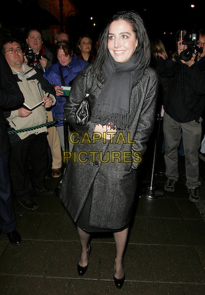 SHARLEEN SPITERI.Finch & Partners' Pre-BAFTA Party, Annabel's, Berkely Sqaure, London, UK..February 10th, 2007.full length grey gray coat black clutch purse bag scarf .CAP/AH.©Adam Houghton/Capital Pictures