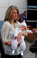 Nov. 8, 2009; Fort Worth, TX, USA; Katie Kenseth holds daughter Kaylin Kenseth prior to the Dickies 500 at the Texas Motor Speedway. Mandatory Credit: Mark J. Rebilas-