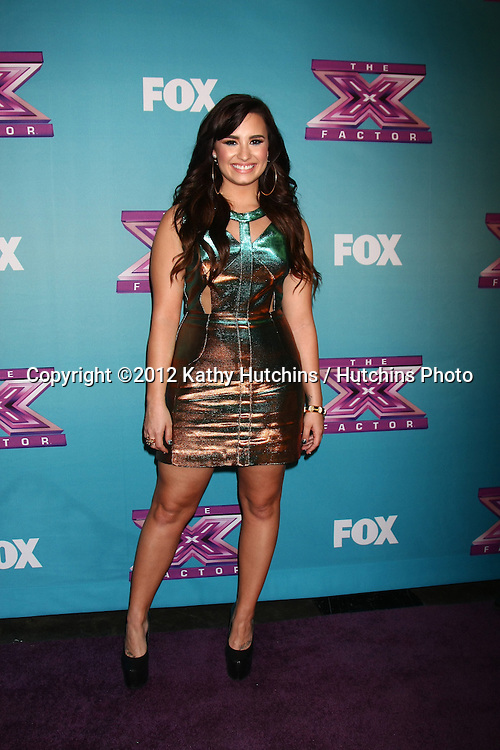 LOS ANGELES - DEC 20:  Demi Lovato at the 'X Factor' Season Finale at CBS Television City on December 20, 2012 in Los Angeles, CA
