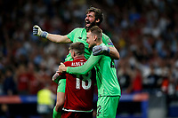 Alisson Becker of Liverpool, Alberto Moreno of Liverpool and Simon Mignolet of Liverpool celebrate after the UEFA Champions League Final match between Tottenham Hotspur and Liverpool at Wanda Metropolitano on June 1st 2019 in Madrid, Spain. (Photo by Daniel Chesterton/phcimages.com)<br /> Foto Daniel Chesterton PHC/ Insidefoto <br /> ITALY ONLY
