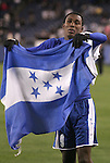 20 March 2008: Jefferson Bernardez (HON) (9) celebrates with a Honduras flag after the game. The Honduras U-23 Men's National Team defeated the Guatemala U-23 Men's National Team 6-5 on penalty kicks after a 0-0 overtime tie at LP Field in Nashville,TN in a semifinal game during the 2008 CONCACAF Men's Olympic Qualifying Tournament. With the penalty kick victory, Honduras qualifies for the 2008 Beijing Olympics.