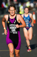 30 JUN 2011 - LONDON, GBR - Abbie Thorrington - Women's Super Sprint elimination round - GE Canary Wharf Triathlon .(PHOTO (C) NIGEL FARROW)