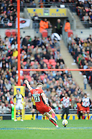 Owen Farrell of Saracens takes a penalty kick during the Aviva Premiership match between Saracens and Harlequins at Wembley Stadium on Saturday 31st March 2012 (Photo by Rob Munro)