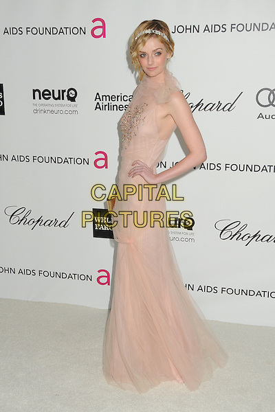 Lydia Hearst.20th Annual Elton John Academy Awards Viewing Party held at West Hollywood Park, West Hollywood, California, USA..February 26th, 2012.oscars full length pink tulle dress hand on hip side .CAP/ADM/BP.©Byron Purvis/AdMedia/Capital Pictures.