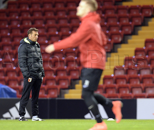 24.02.2016. Anfield, Liverpool, UK.  Augsburg's coach Markus Weinzierl (L) during a training session in Anfield Stadium in Liverpool, UK, 24 February 2016. FC Augsburg and Liverpool will play in the Europa League round of 32 soccer match on 25 February 2016.