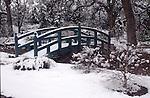11900-OI(UZ) Japanese-Style Bridge, green to blend into garden, after April snowstorm, at Mourning Cloak Ranch & Botanical Garden, Tehachapi, CA USA