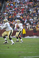 06 December 2009:  Saints QB Drew Brees (9)..The New Orleans Saints defeated the Washington Redskins  33-30 in Overtime to improve to 12-0 on the season at FedEx Field in Landover, MD.