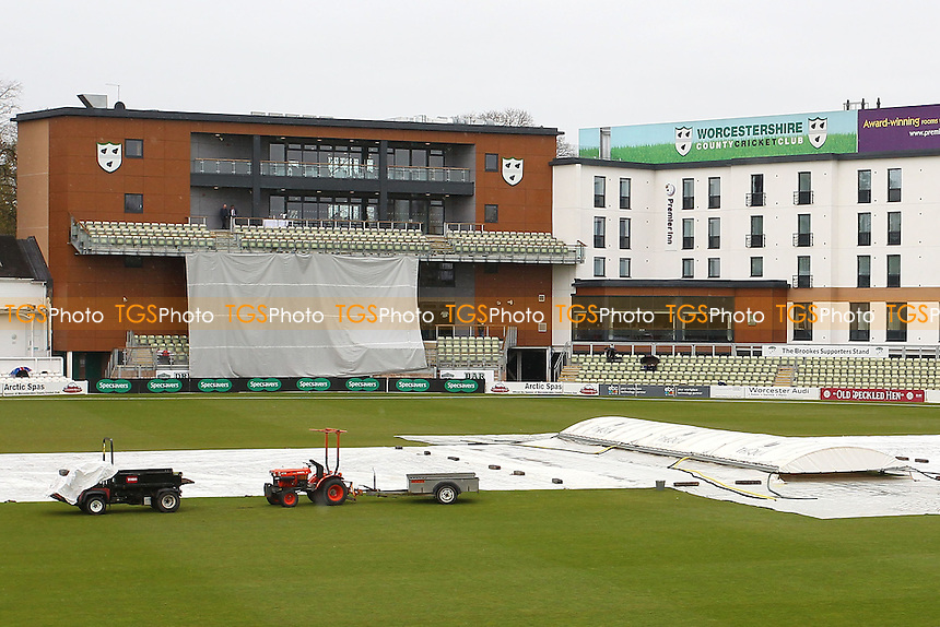 The covers are on as rain delays play during Worcestershire CCC vs Essex CCC, Specsavers County Championship Division 2 Cricket at New Road on 1st May 2016