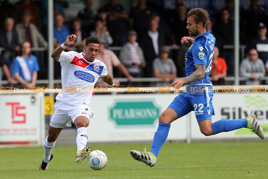 Corey Whitely of Dagenham and Andrew Boyce of Eastleigh during Eastleigh vs Dagenham & Redbridge, Vanarama National League Football at the Silverlake Stadium on 12th August 2017