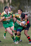 Tukimom Taulanga tries to fight his way out of Anand Manga's tackle as Rod Schbert arrives in support. Counties Manukau Premier Club Rugby Game of the Week between Drury & Papakura, played at Drury Domain on Saturday Aprill 11th, 2009..Drury won 35 - 3 after leading 15 - 5 at halftime.