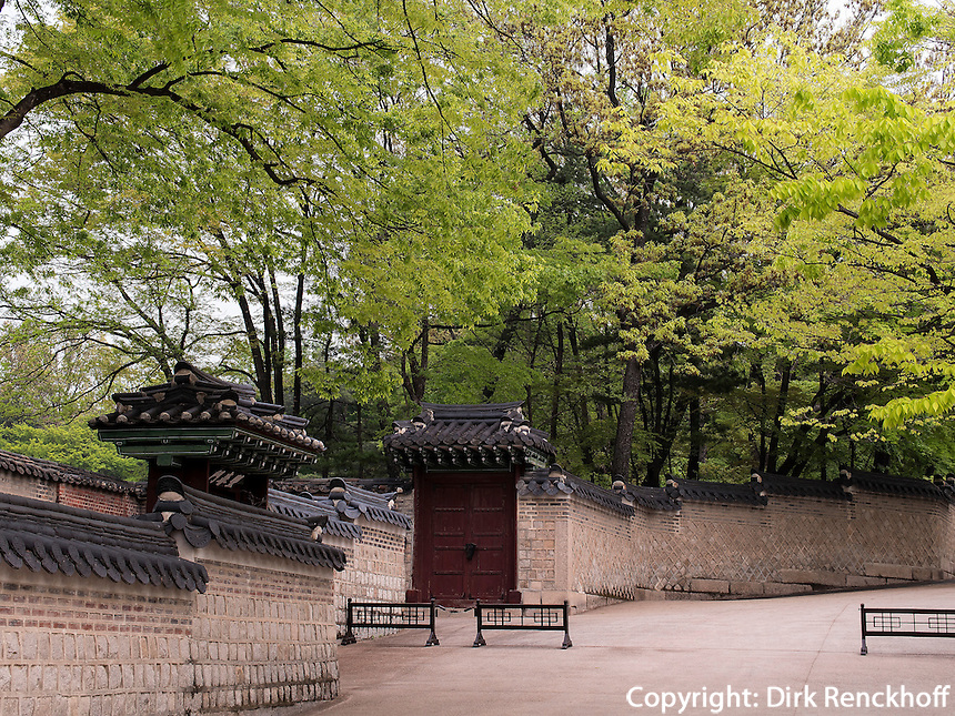 Eingang zum Secret Garden = Huwon= Biwon des Changdeokgung Palast, Seoul, S&uuml;dkorea, Asien, UNESCO-Weltkulturerbe<br /> Entrance to secret garden = Howon = Biwon in palace Changdeokgung,  Seoul, South Korea, Asia UNESCO world-heritage