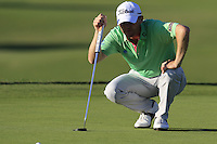 Michael Hoey (NIR) lines up his putt on the 7th green during Thursday's Round 1 of the 2016 Portugal Masters held at the Oceanico Victoria Golf Course, Vilamoura, Algarve, Portugal. 19th October 2016.<br /> Picture: Eoin Clarke   Golffile<br /> <br /> <br /> All photos usage must carry mandatory copyright credit (© Golffile   Eoin Clarke)