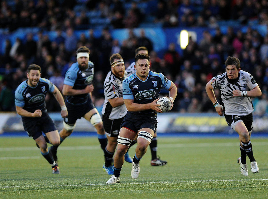 Cardiff Blues' Ellis Jenkins in action during todays match<br /> <br /> Photographer Ashley Crowden/CameraSport<br /> <br /> Guinness PRO12 Round 21 -  Cardiff Blues and Zebre Rugby - Friday April 28 2017 - Cardiff Arms Park - Cardiff<br /> <br /> World Copyright &copy; 2017 CameraSport. All rights reserved. 43 Linden Ave. Countesthorpe. Leicester. England. LE8 5PG - Tel: +44 (0) 116 277 4147 - admin@camerasport.com - www.camerasport.com