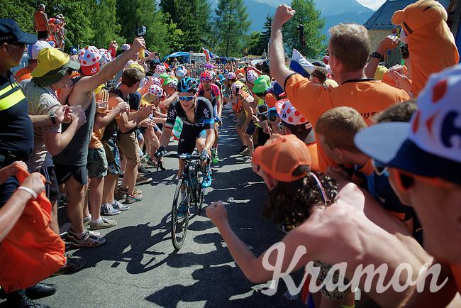 Nicolas Roche (IRL/SKY) experiencing the craziness at the Dutch Corner (nr7) up Alpe d'Huez<br /> <br /> stage 20: Modane Valfr&eacute;jus - Alpe d'Huez (111km)<br /> 2015 Tour de France
