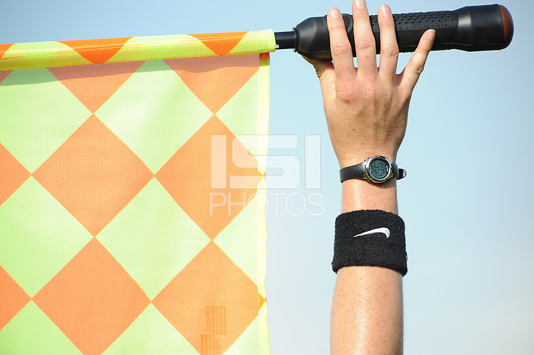 Boyds, MD - Saturday August 12, 2017: Assitant referee flag during a regular season National Women's Soccer League (NWSL) match between the Washington Spirit and the Boston Breakers at Maureen Hendricks Field, Maryland SoccerPlex.