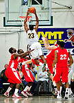 17 January 2010: University of Vermont Catamount forward Marqus Blakely, a Senior from Metuchen, NJ, lays one up for two against the Boston University Terriers at Patrick Gymnasium in Burlington, Vermont. The Catamounts, holding the lead for the entire game, defeated the Terriers 78-58. Mandatory Credit: Ed Wolfstein Photo