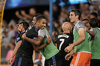 SAN JOSE, CA - SEPTEMBER 25: Danny Hoesen #9 and Anibal Godoy #20 of the San Jose Earthquakes celebrate a goal during a Major League Soccer (MLS) match between the San Jose Earthquakes and the Philadelphia Union on September 25, 2019 at Avaya Stadium in San Jose, California.