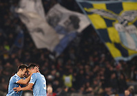 Football, Serie A: S.S. Lazio - Juventus Olympic stadium, Rome, December 7, 2019. <br /> Lazio's Luis Felipe (r) celebrates after scoring with his teammate Stefan Radu (l) during the Italian Serie A football match between S.S. Lazio and Juventus at Rome's Olympic stadium, Rome on December 7, 2019.<br /> UPDATE IMAGES PRESS/Isabella Bonotto
