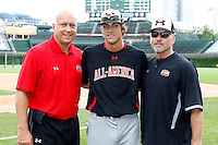 First baseman Ryan Ripken #20 of Gilman School in Baltimore, Maryland with his father Cal Ripken Jr., a hall of fame member, and uncle Billy Ripken before the Under Armour All-American Game at Wrigley Field on August 13, 2011 in Chicago, Illinois.  (Mike Janes/Four Seam Images)