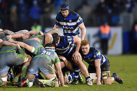 Miles Reid of Bath Rugby looks on at a scrum. Anglo-Welsh Cup match, between Bath Rugby and Newcastle Falcons on January 27, 2018 at the Recreation Ground in Bath, England. Photo by: Patrick Khachfe / Onside Images