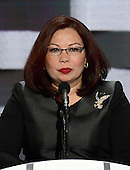 United States Representative Tammy Duckworth (Democrat of Illinois), a candidate for US Senate, makes remarks during the fourth session of the 2016 Democratic National Convention at the Wells Fargo Center in Philadelphia, Pennsylvania on Thursday, July 28, 2016.<br /> Credit: Ron Sachs / CNP<br /> (RESTRICTION: NO New York or New Jersey Newspapers or newspapers within a 75 mile radius of New York City)