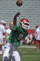 NWA Democrat-Gazette/MICHAEL WOODS &bull; @NWAMICHAELW<br /> University of Arkansas quarterback Ty Storey runs drills during practice Saturday, August 15, 2015 at Razorback Stadium in Fayetteville.