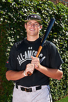 Pitcher / First Baseman Sam Hentges (24) of Mounds View High School in Shoreview, Minnesota poses for a photo before the Under Armour All-American Game on August 24, 2013 at Wrigley Field in Chicago, Illinois.  (Mike Janes/Four Seam Images)