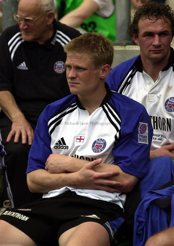 Photo. Richard Lane. .Leicester Tigers v Bath. The Zurich Championship Final at Twickenham. 13/5/2001..Iain Balshaw on the bench.